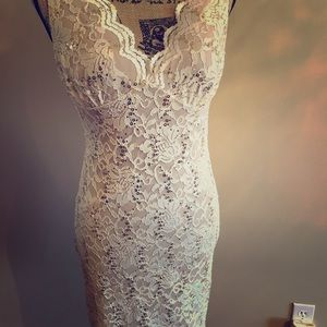 Ivory lace dress with sequins embellishment